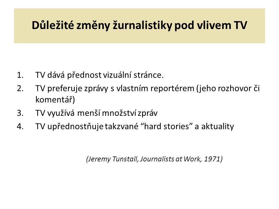 Důležité změny žurnalistiky pod vlivem TV