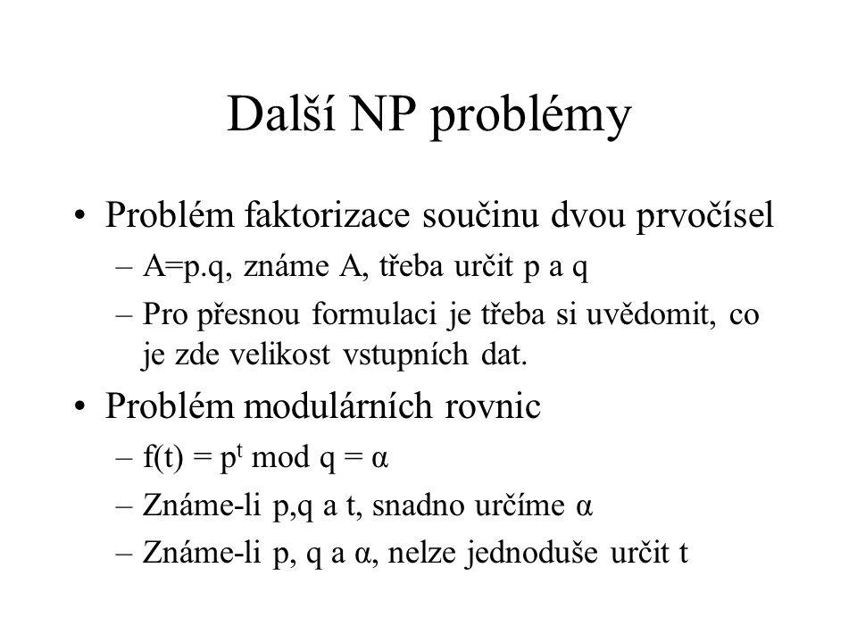 Další NP problémy Problém faktorizace součinu dvou prvočísel
