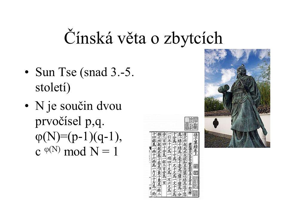 Čínská věta o zbytcích Sun Tse (snad 3.-5. století)