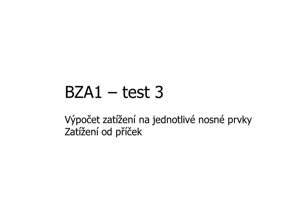 BZA1 – test 3 Výpočet zatížení na jednotlivé nosné prvky