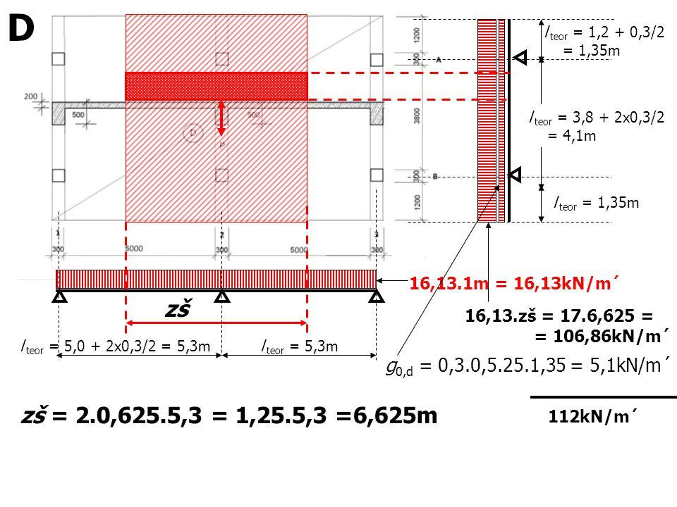 D l teor = 1,2 + 0,3/2. = 1,35m. l teor = 3,8 + 2x0,3/2. = 4,1m. l teor = 1,35m. 16,13.1m = 16,13kN/m´