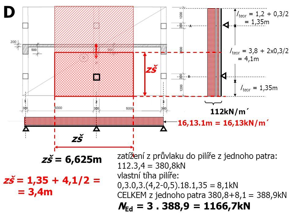 D zš zš zš = 6,625m zš = 1,35 + 4,1/2 = NEd = 3 . 388,9 = 1166,7kN