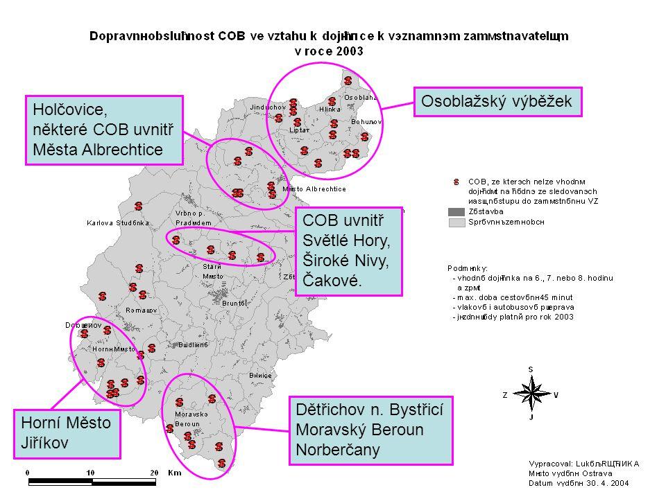 Osoblažský výběžek Holčovice, některé COB uvnitř Města Albrechtice