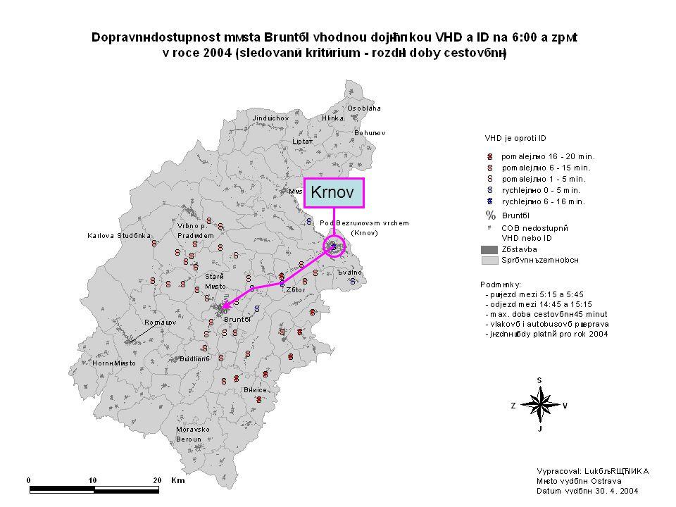 Krnov Tento snímek zachycuje rozdíl v časové dostupnosti Bruntálu při použití VHD a ID.