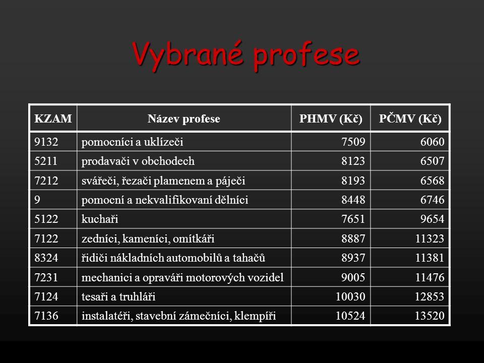 Vybrané profese KZAM Název profese PHMV (Kč) PČMV (Kč) 9132