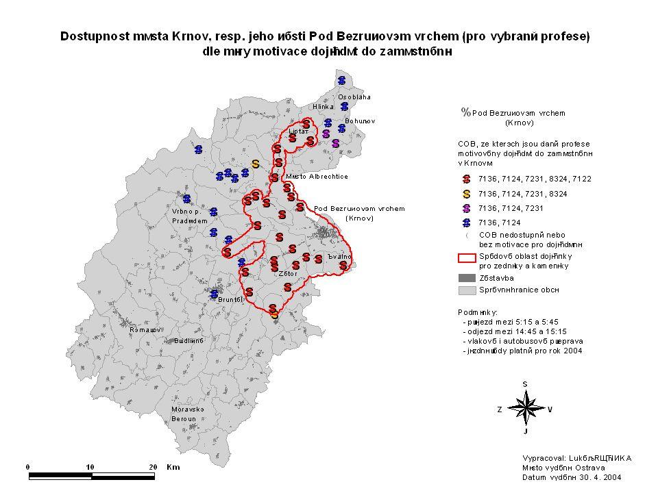 Tento kartogram zobrazuje COB, ze kterých jsou jednotlivé profese motivovány dojíždět na 6:00 do Krnova a zpět.