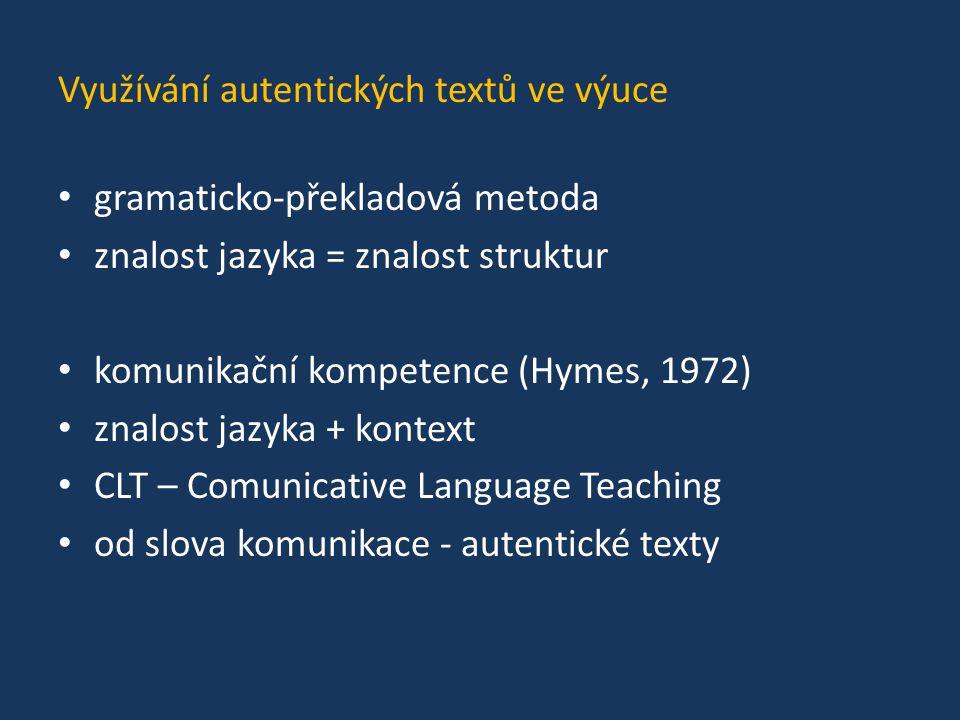 Využívání autentických textů ve výuce