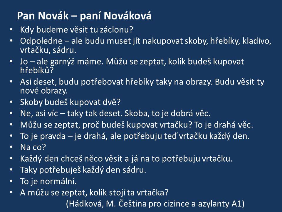 Pan Novák – paní Nováková