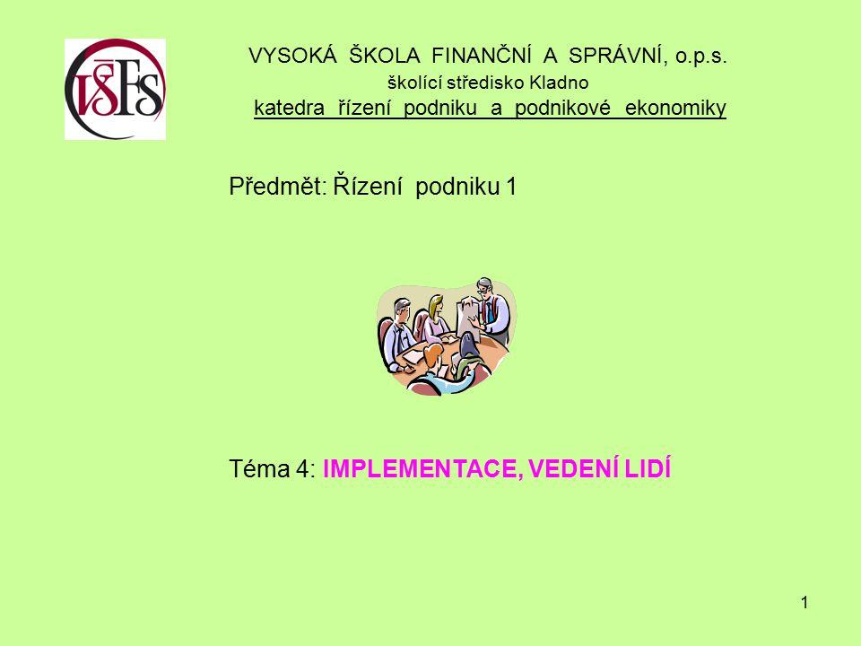 Předmět: Řízení podniku 1 Téma 4: IMPLEMENTACE, VEDENÍ LIDÍ