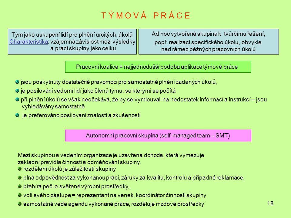 T Ý M O V Á P R Á C E Tým jako uskupení lidí pro plnění určitých, úkolů. Charakteristika: vzájemná závislost mezi výsledky.