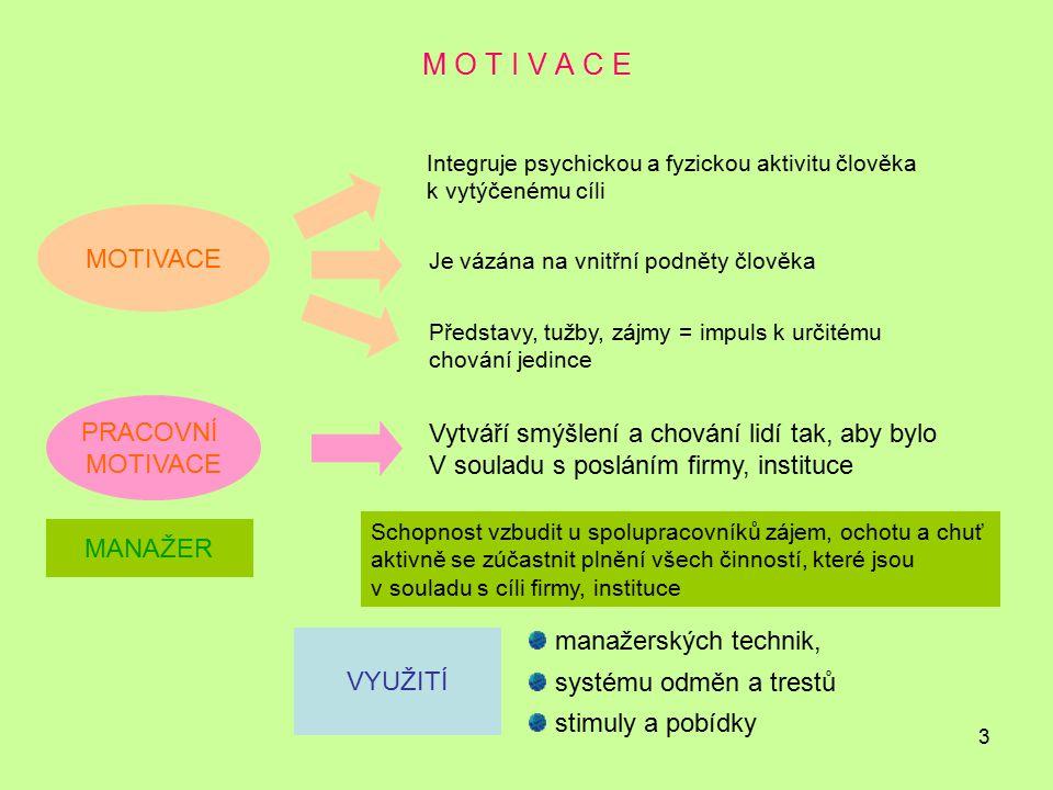M O T I V A C E MOTIVACE PRACOVNÍ