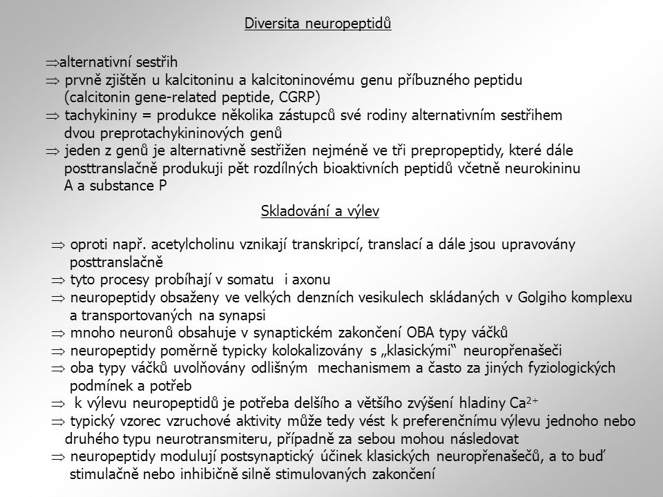 Diversita neuropeptidů