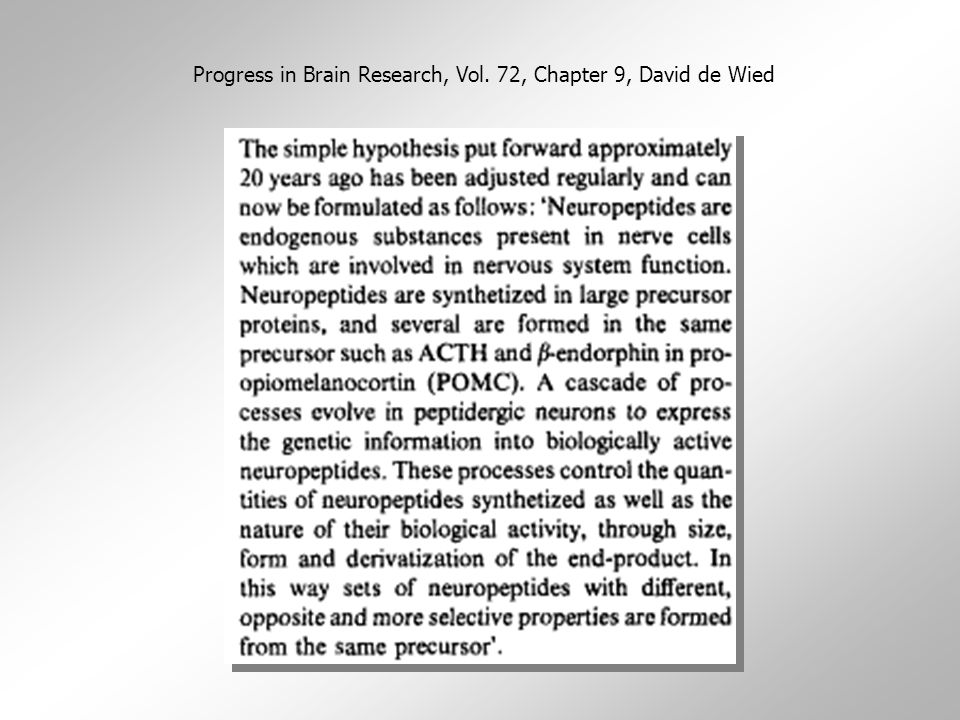 Progress in Brain Research, Vol. 72, Chapter 9, David de Wied