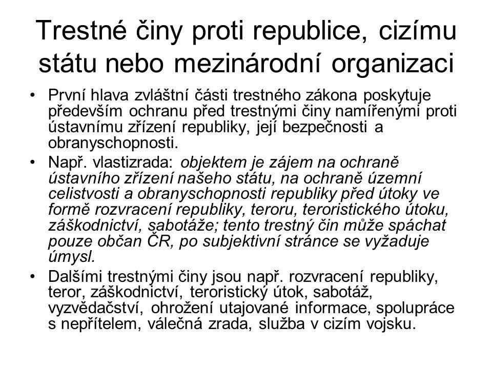 Trestné činy proti republice, cizímu státu nebo mezinárodní organizaci