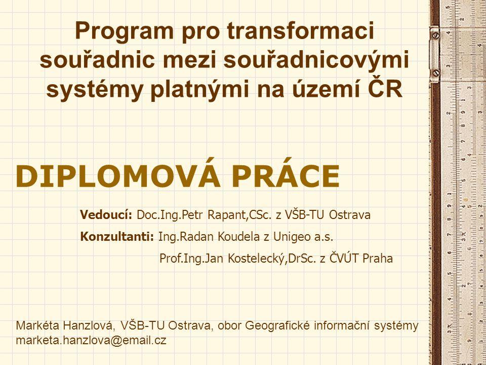 Program pro transformaci souřadnic mezi souřadnicovými systémy platnými na území ČR