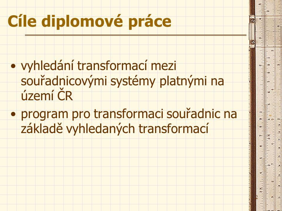 Cíle diplomové práce vyhledání transformací mezi souřadnicovými systémy platnými na území ČR.
