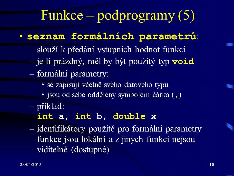 Funkce – podprogramy (5)
