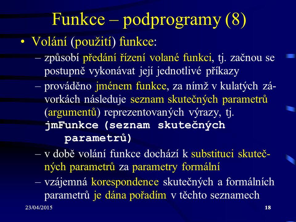 Funkce – podprogramy (8)