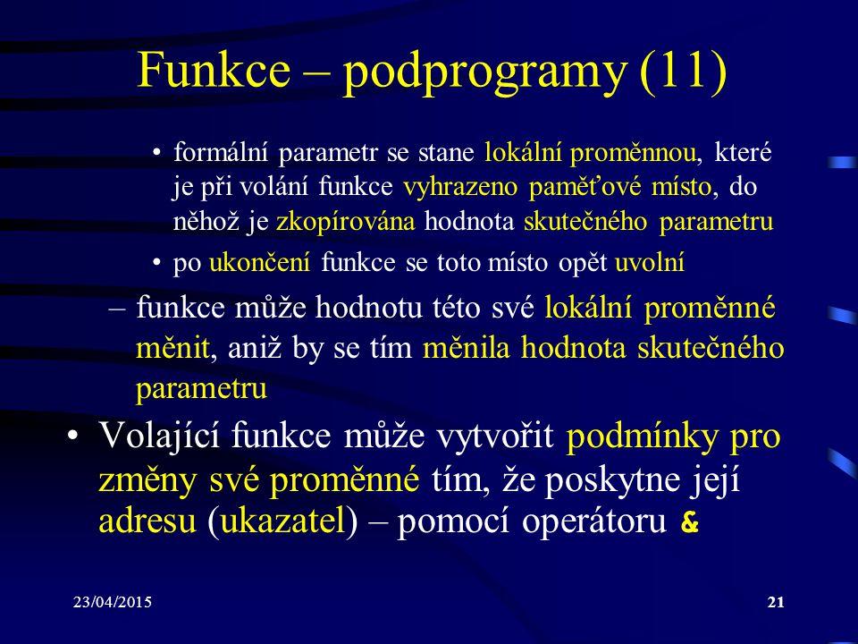 Funkce – podprogramy (11)