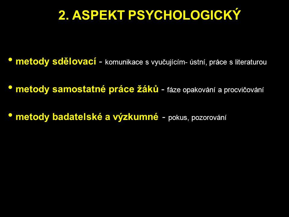 2. ASPEKT PSYCHOLOGICKÝ metody sdělovací - komunikace s vyučujícím- ústní, práce s literaturou.