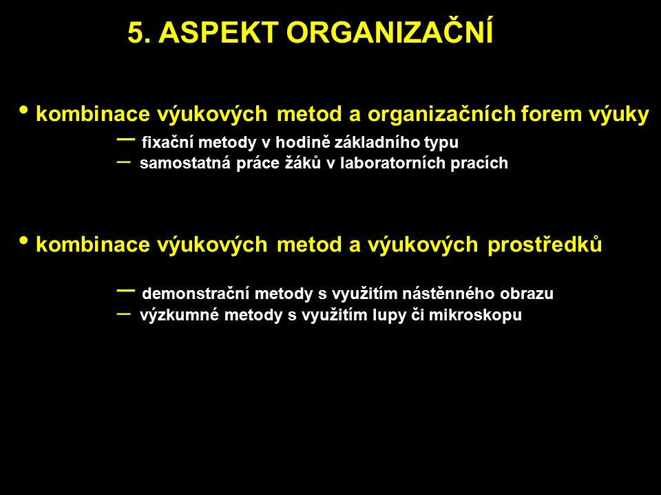 5. ASPEKT ORGANIZAČNÍ kombinace výukových metod a organizačních forem výuky. fixační metody v hodině základního typu.