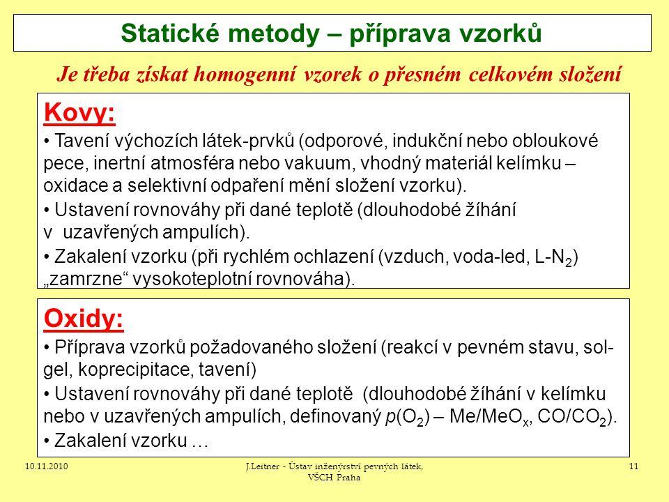 Statické metody – příprava vzorků