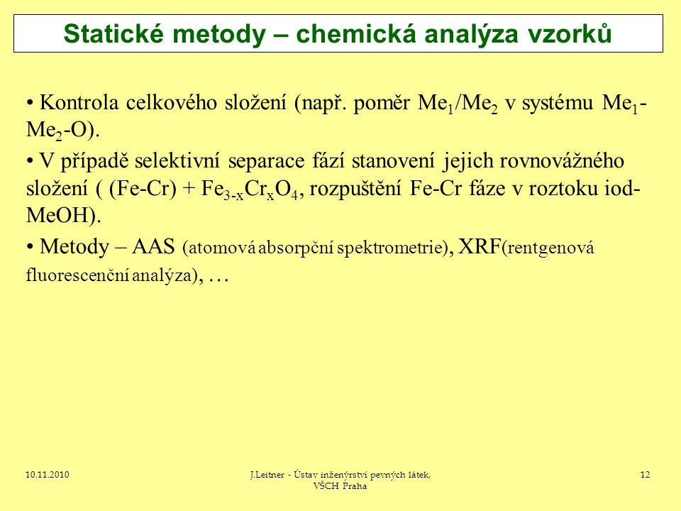 Statické metody – chemická analýza vzorků