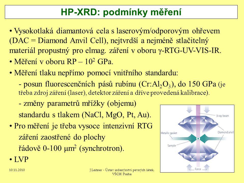 HP-XRD: podmínky měření