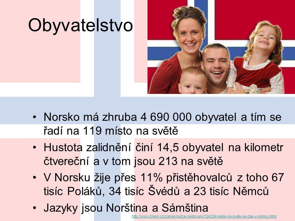 Obyvatelstvo Norsko má zhruba 4 690 000 obyvatel a tím se řadí na 119 místo na světě.