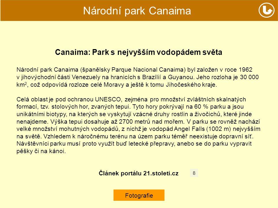 Národní park Canaima Canaima: Park s nejvyšším vodopádem světa