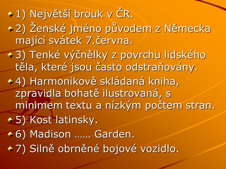 1) Největší brouk v ČR. 2) Ženské jméno původem z Německa mající svátek 7.června.