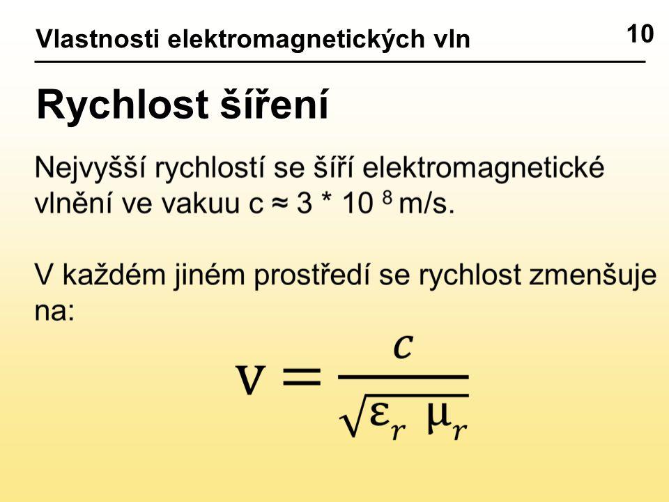 10 Vlastnosti elektromagnetických vln Rychlost šíření