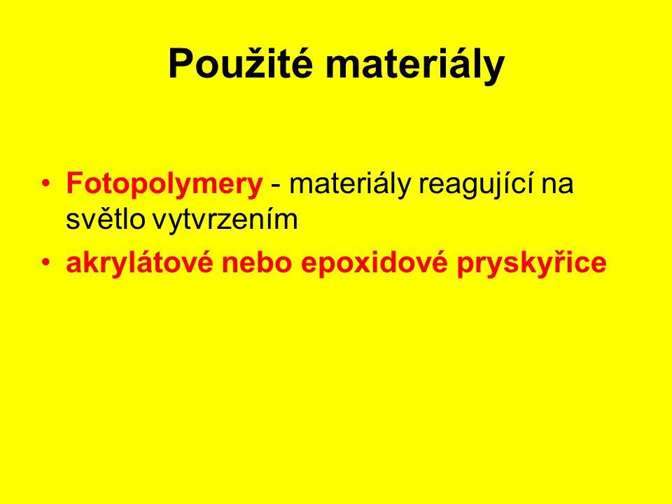 Použité materiály Fotopolymery - materiály reagující na světlo vytvrzením.