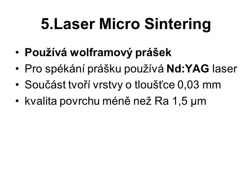5.Laser Micro Sintering Používá wolframový prášek