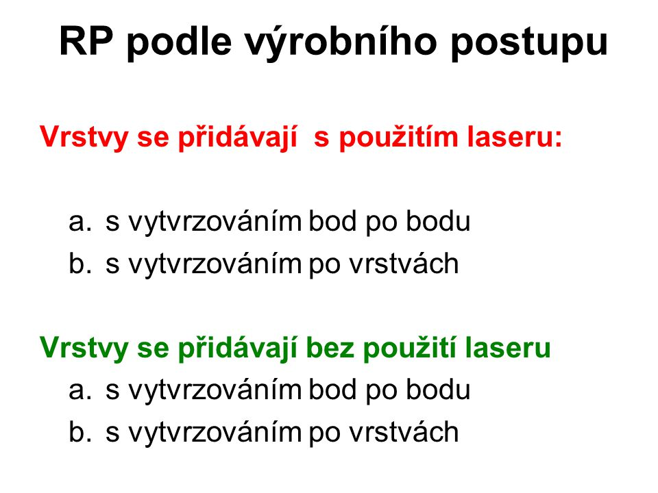 RP podle výrobního postupu