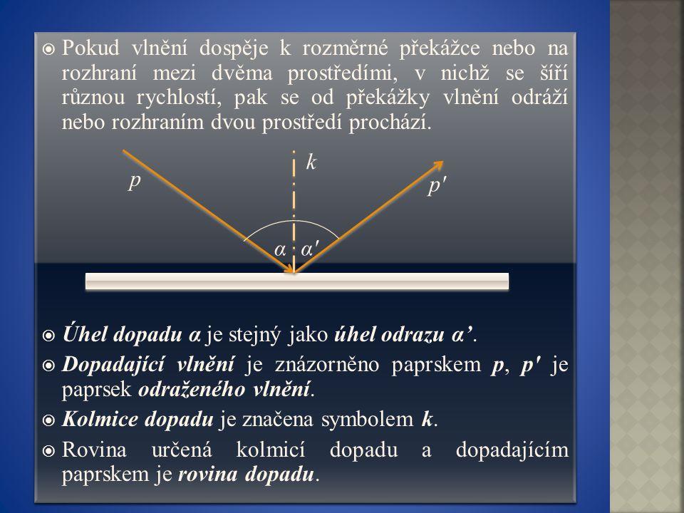 Pokud vlnění dospěje k rozměrné překážce nebo na rozhraní mezi dvěma prostředími, v nichž se šíří různou rychlostí, pak se od překážky vlnění odráží nebo rozhraním dvou prostředí prochází.