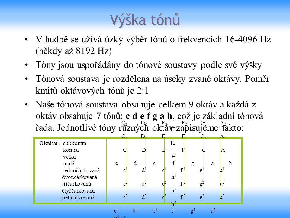 Výška tónů V hudbě se užívá úzký výběr tónů o frekvencích 16-4096 Hz (někdy až 8192 Hz) Tóny jsou uspořádány do tónové soustavy podle své výšky.