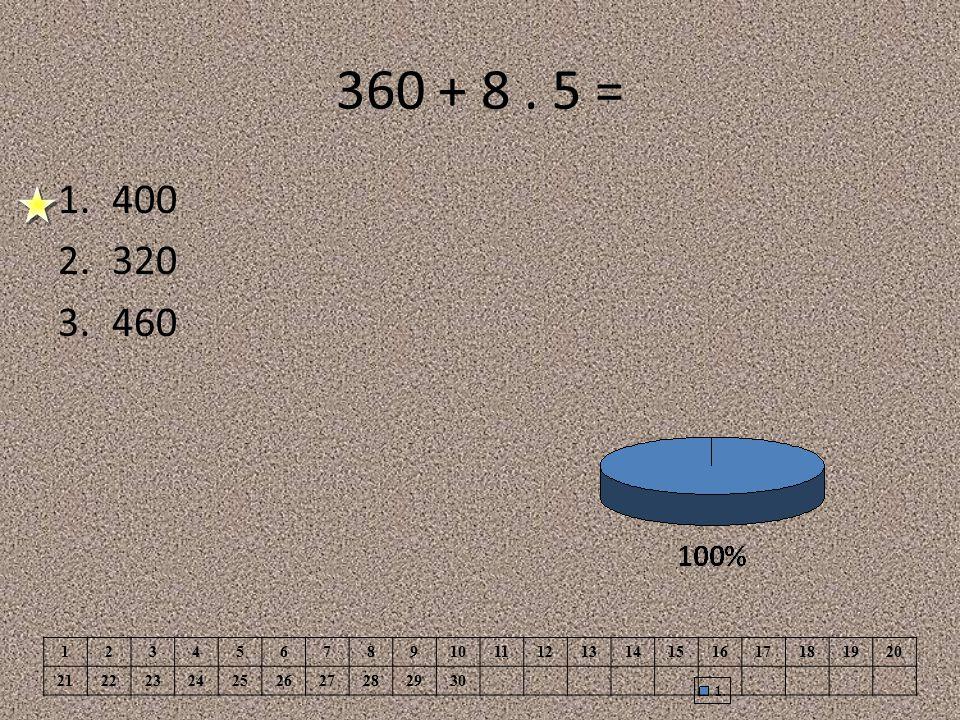 360 + 8 . 5 = 400. 320. 460. 1. 2. 3. 4. 5. 6. 7. 8. 9. 10. 11. 12. 13. 14. 15. 16.