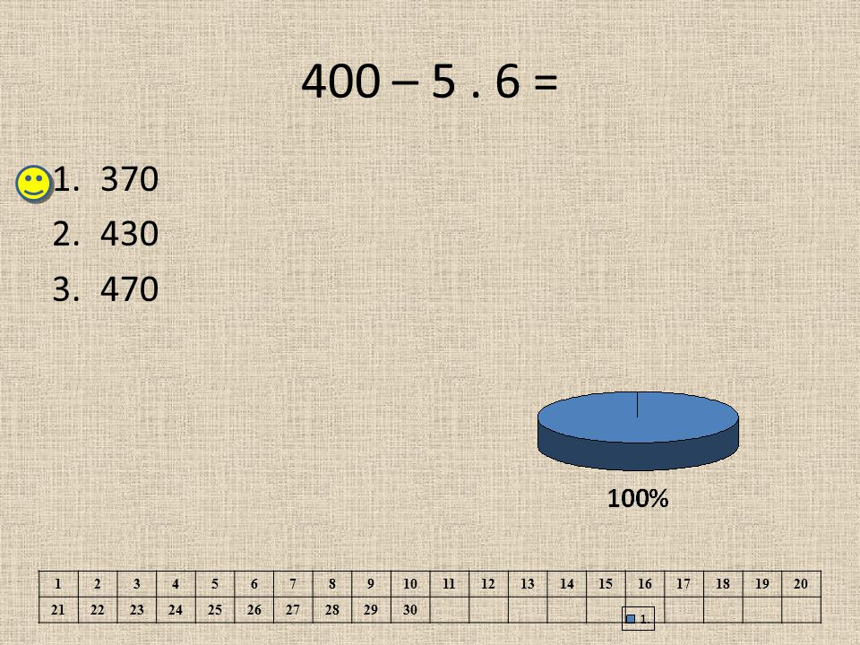 400 – 5 . 6 = 370. 430. 470. 1. 2. 3. 4. 5. 6. 7. 8. 9. 10. 11. 12. 13. 14. 15. 16.