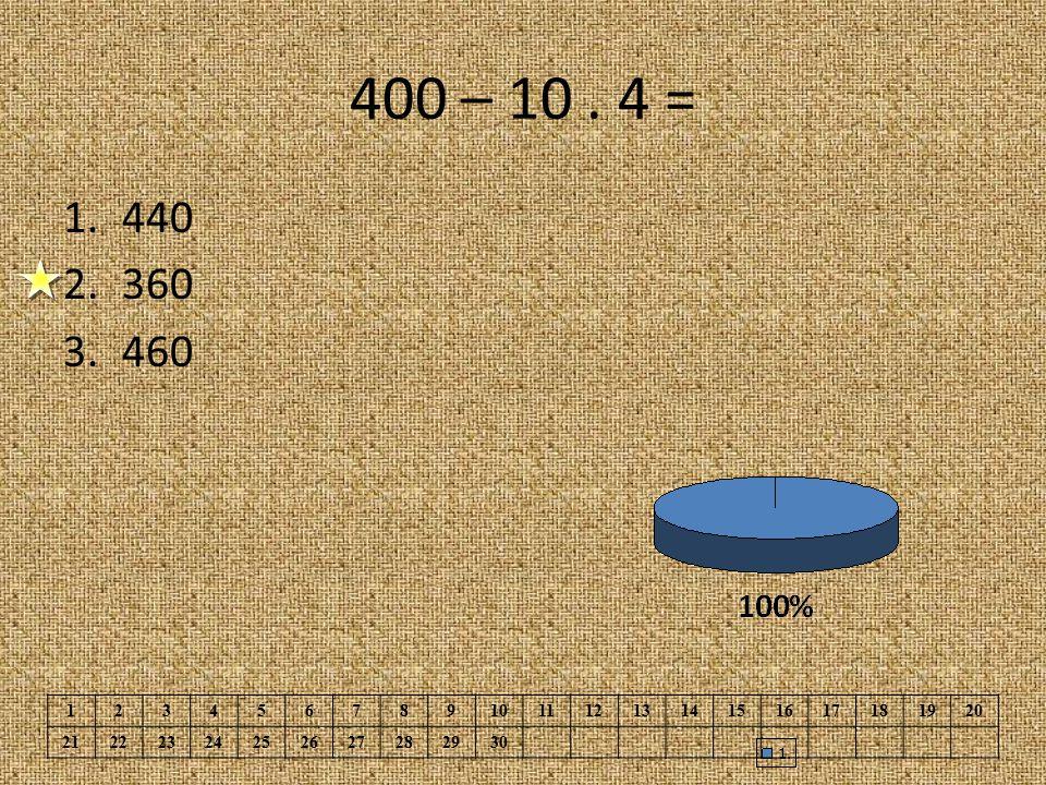 400 – 10 . 4 = 440. 360. 460. 1. 2. 3. 4. 5. 6. 7. 8. 9. 10. 11. 12. 13. 14. 15. 16.