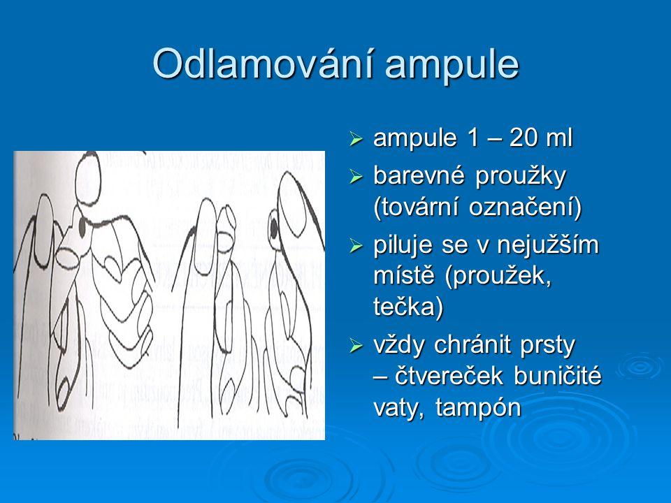 Odlamování ampule ampule 1 – 20 ml barevné proužky (tovární označení)