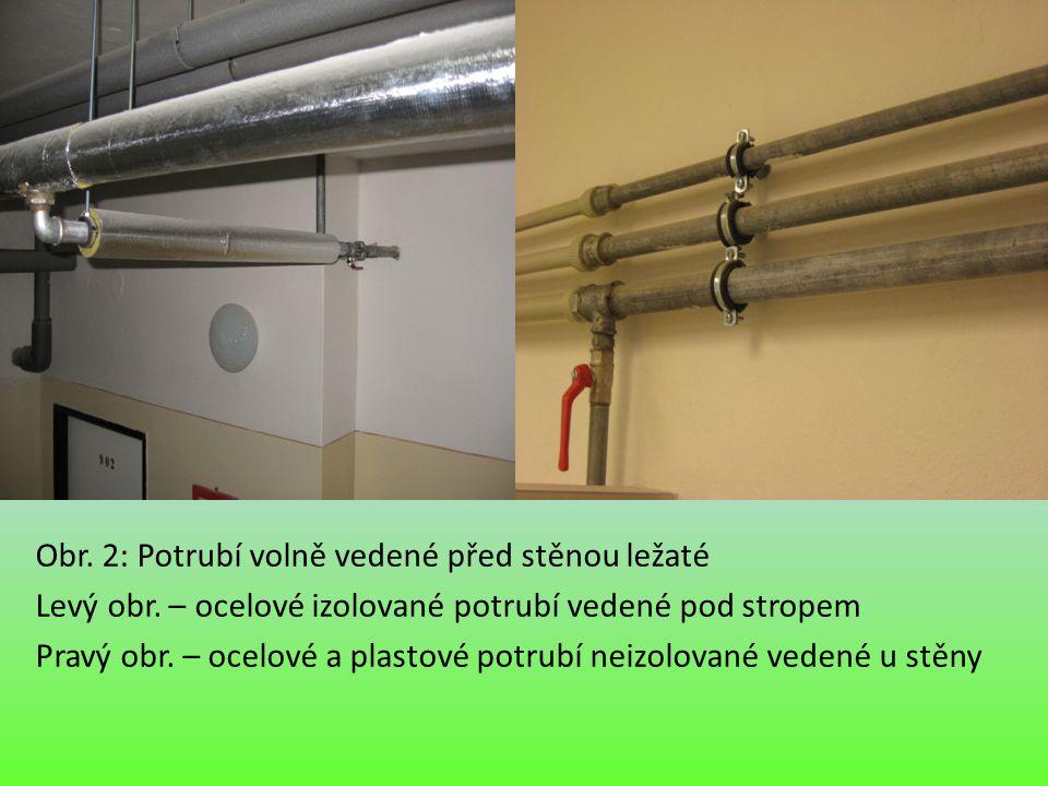 Obr. 2: Potrubí volně vedené před stěnou ležaté Levý obr