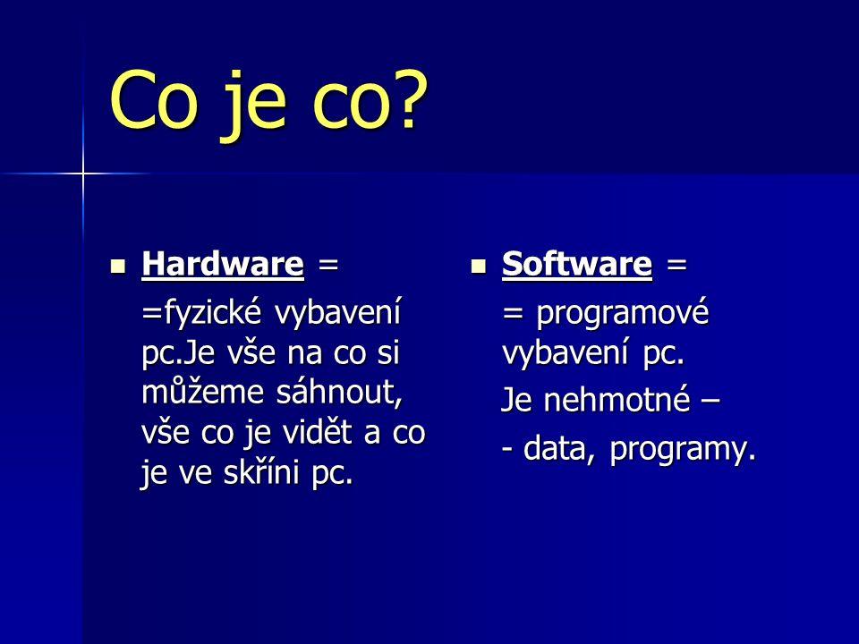 Co je co Hardware = =fyzické vybavení pc.Je vše na co si můžeme sáhnout, vše co je vidět a co je ve skříni pc.