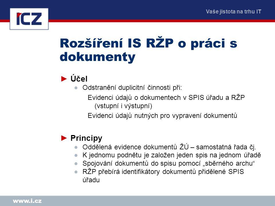 Rozšíření IS RŽP o práci s dokumenty