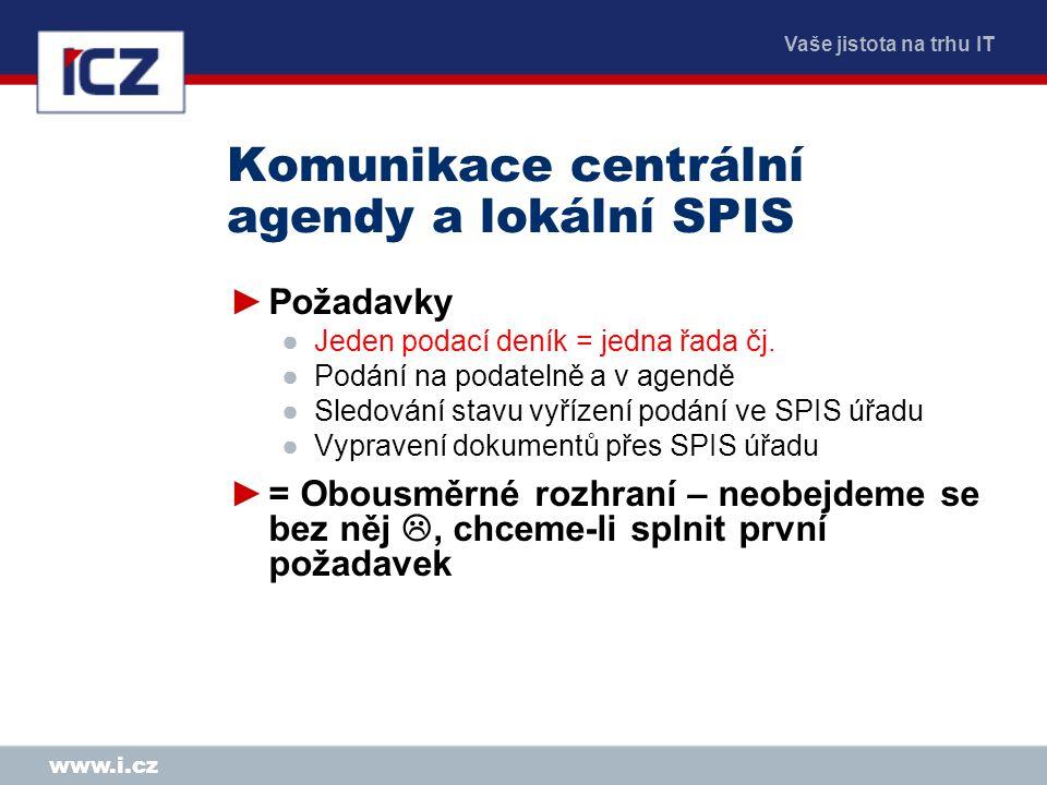 Komunikace centrální agendy a lokální SPIS