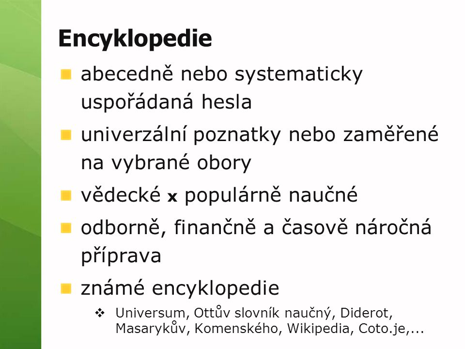 Encyklopedie abecedně nebo systematicky uspořádaná hesla