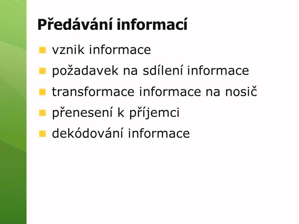 Předávání informací vznik informace požadavek na sdílení informace