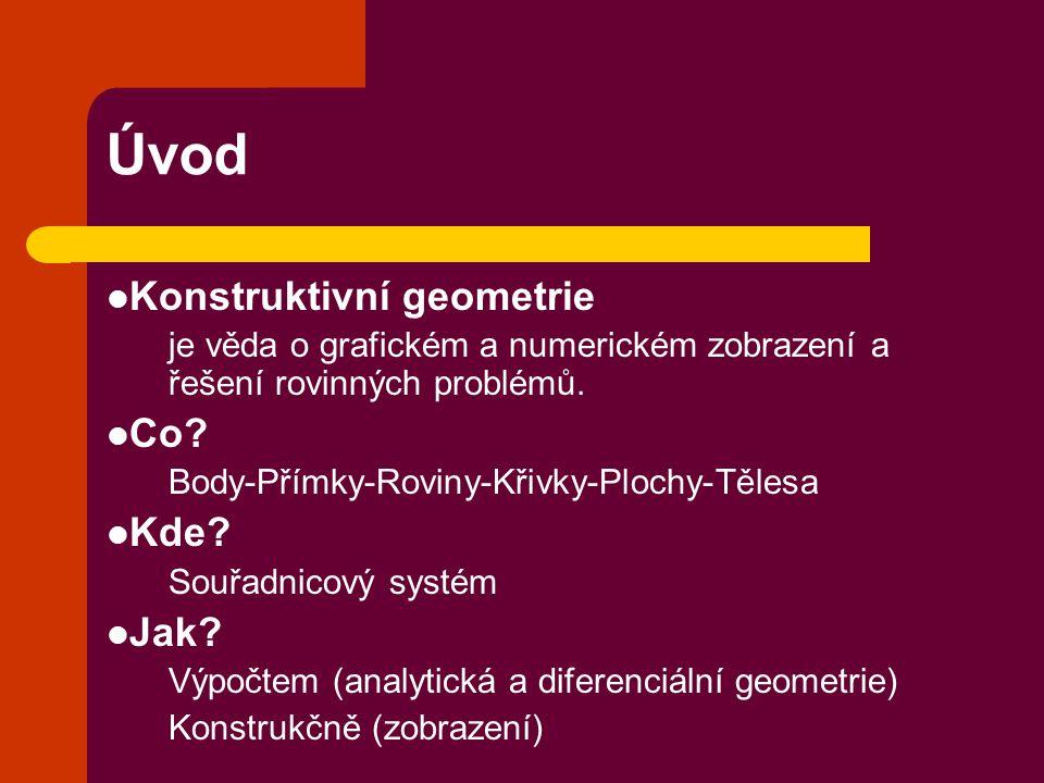 Úvod Konstruktivní geometrie Co Kde Jak