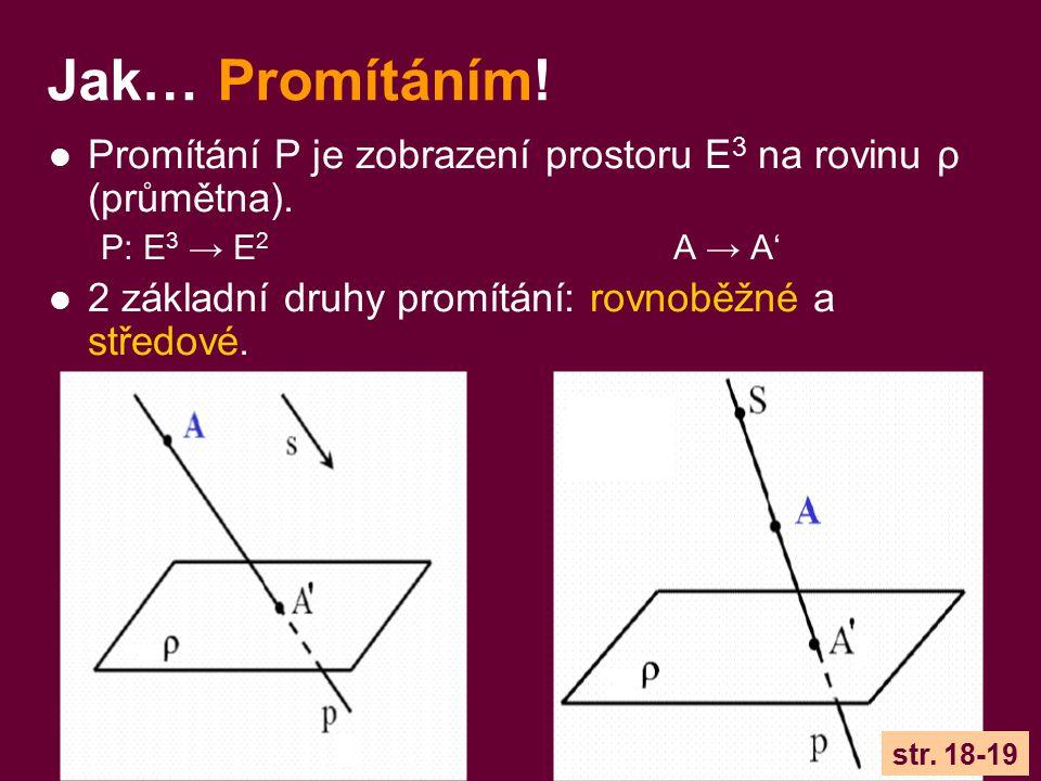 Jak… Promítáním! Promítání P je zobrazení prostoru E3 na rovinu ρ (průmětna). P: E3 → E2 A → A'