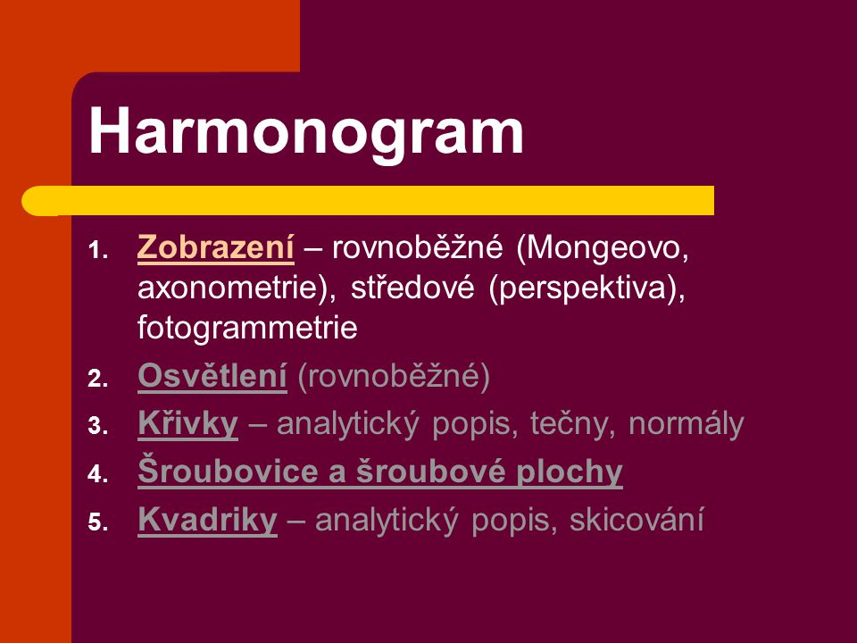 Harmonogram Zobrazení – rovnoběžné (Mongeovo, axonometrie), středové (perspektiva), fotogrammetrie.